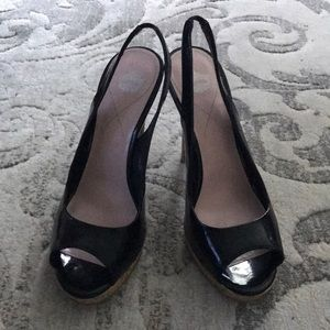 Shoes - Black patent leather-open toe slingback high heels